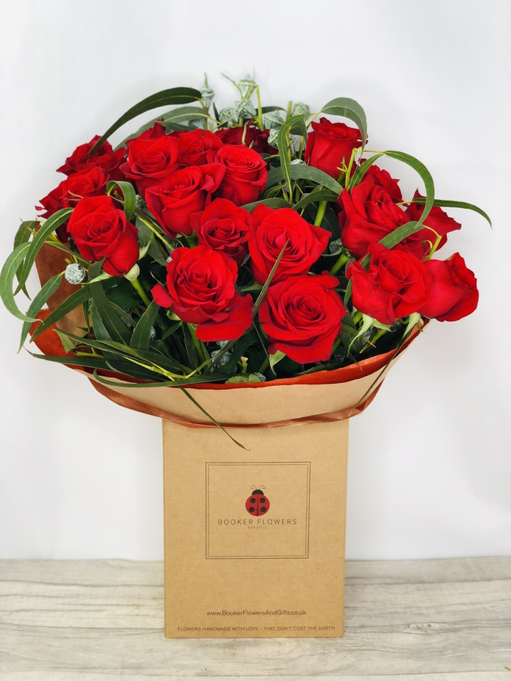 24 Red Roses Handtied Bouquet: Booker Flowers and Gifts