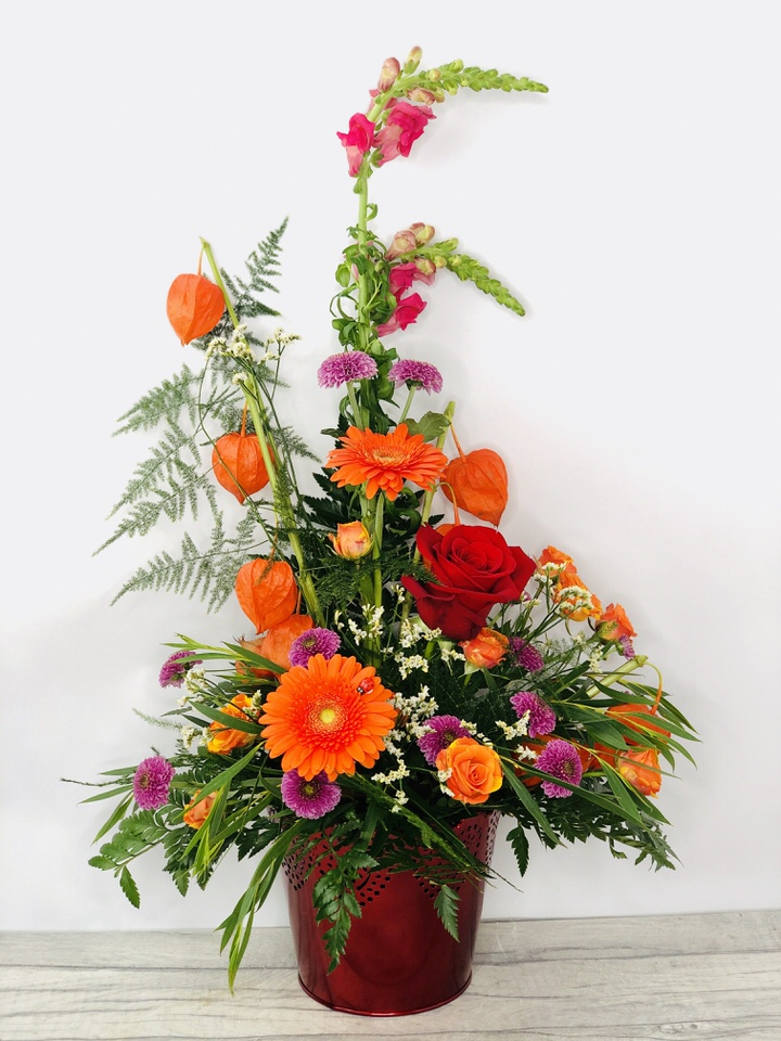 Autumn Festival Orange flower Arrangement: Booker Flowers and Gifts