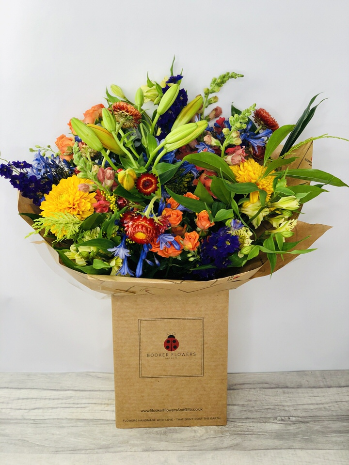 Autumn Jewels Orange and Blue Flowers: Booker Flowers and Gifts