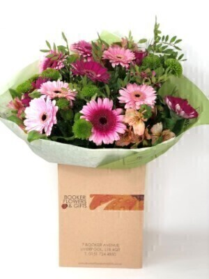 Cerise and Green Bouquet of Flowers: Booker Flowers and Gifts