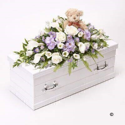 Childrens Casket Spray with Teddy Bear - Blue: Booker Flowers and Gifts