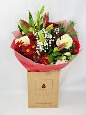 Christmas Red and White Bouquet: Booker Flowers and Gifts