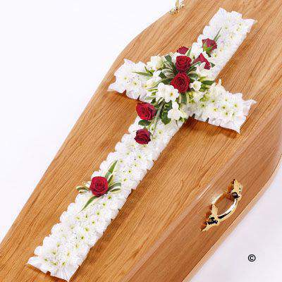 Classic Cross - White and Red Extra Large: Booker Flowers and Gifts