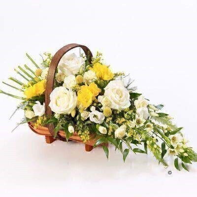 Extra Large Mixed Basket - Yellow and White: Booker Flowers and Gifts