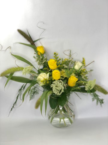 Golden Wedding Vase Arrangement Medium: Booker Flowers and Gifts