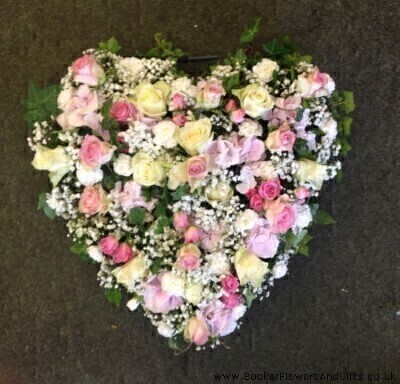 Heart In Pink And White Funeral Flowers: Booker Flowers and Gifts
