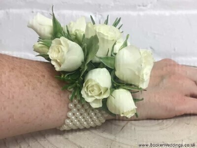 Ivory Rose Wrist Corsage: Booker Flowers and Gifts
