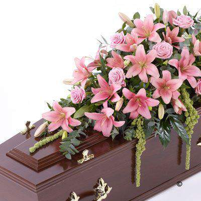 Lily and Rose Casket Spray - Pink: Booker Flowers and Gifts