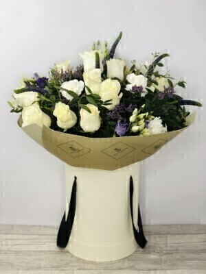 Luxury Beautiful Blue and White Hatbox of Flowers: Booker Flowers and Gifts