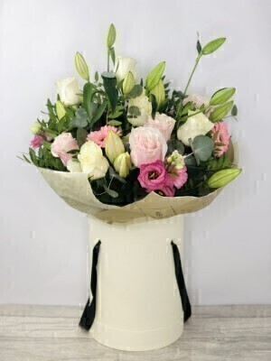 Luxury Perfect Pink and White Hatbox of Flowers: Booker Flowers and Gifts