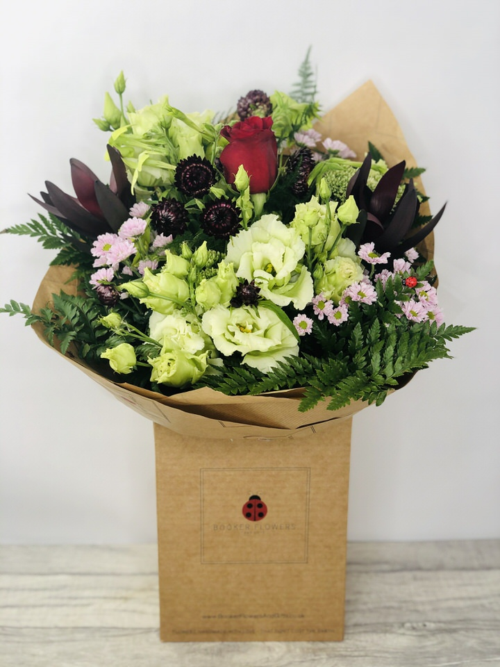 Mood Changer Burgundy and White Bouquet: Booker Flowers and Gifts