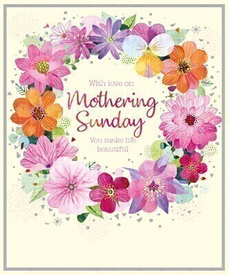 Mothering Sunday Wreath Mothers Day Card: Booker Flowers and Gifts