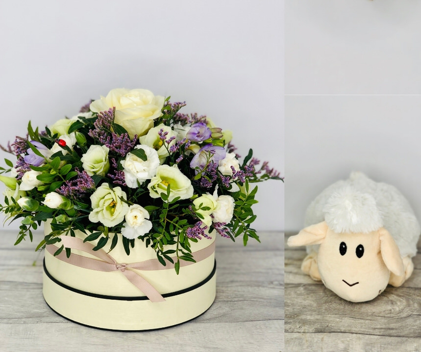 New Baby Boy Hatbox Gift Set: Booker Flowers and Gifts