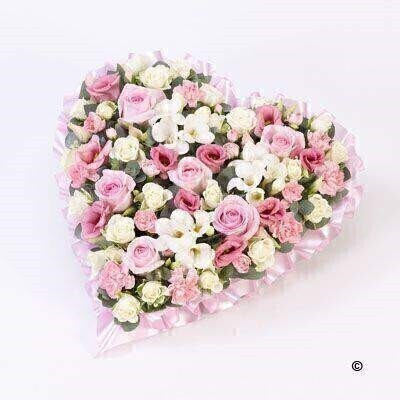 Pastel Heart - Pink and White: Booker Flowers and Gifts