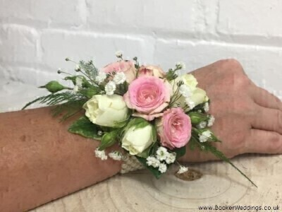 Pink and White Wrist Corsage: Booker Flowers and Gifts