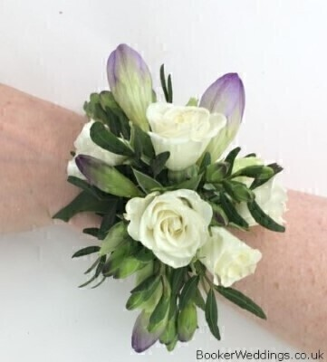 Purple and White Wrist Corsage: Booker Flowers and Gifts
