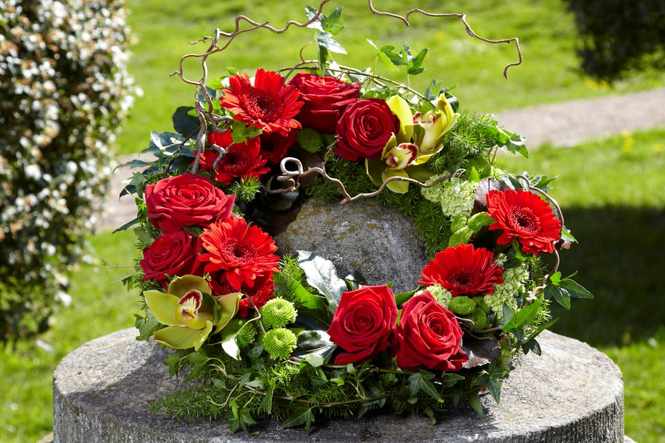 Red Rose and Orchid Wreath Funeral Flowers: Booker Flowers and Gifts