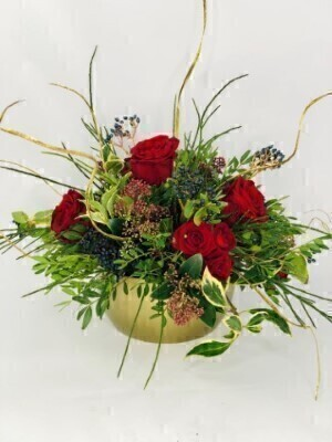 Red and Gold Christmas Table Arrangement: Booker Flowers and Gifts