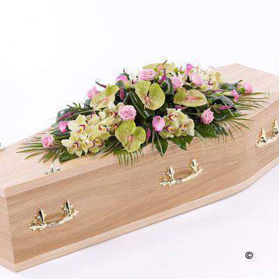 Rose Orchid and Calla Lily Casket Spray: Booker Flowers and Gifts