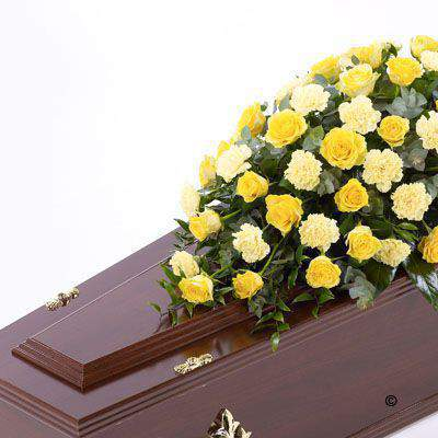 Rose and Carnation Casket Spray - Yellow: Booker Flowers and Gifts