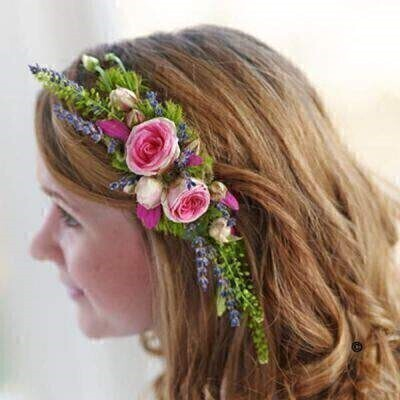 Rose and Lavender Hair Comb: Booker Flowers and Gifts