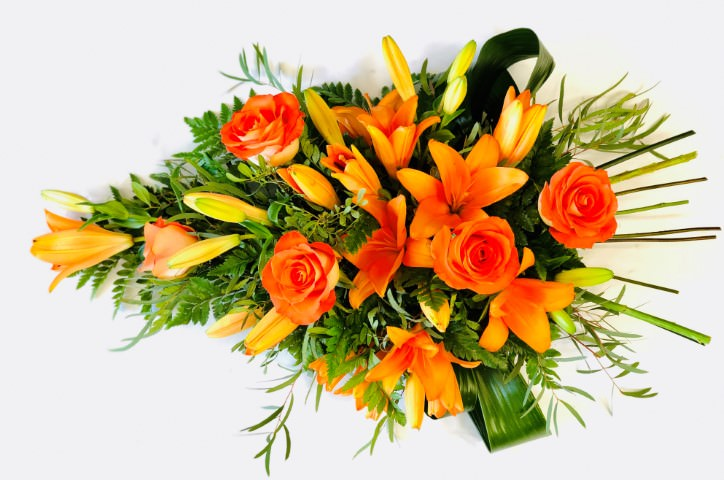 Rose and Lily Spray - Orange Large: Booker Flowers and Gifts