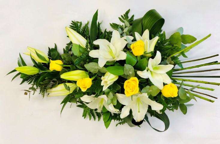 Rose and Lily Spray - Yellow and White: Booker Flowers and Gifts