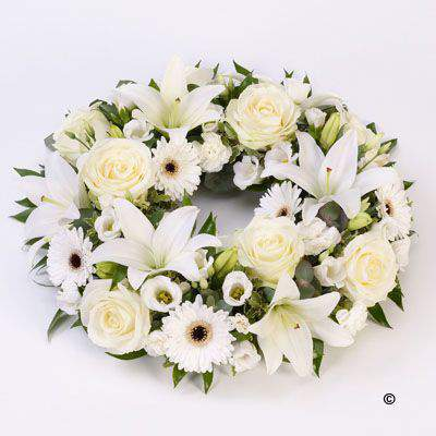 Rose and Lily Wreath - White Large: Booker Flowers and Gifts