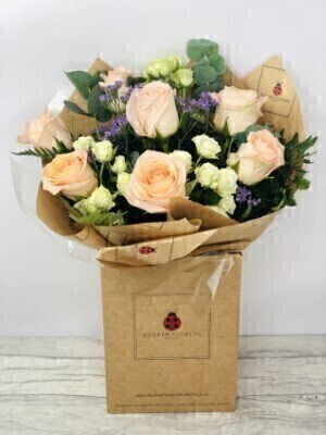 Rustic Peach Rose Handtied Bouquet: Booker Flowers and Gifts