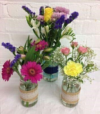 Set of 3 Vintage Jars of Flowers: Booker Flowers and Gifts