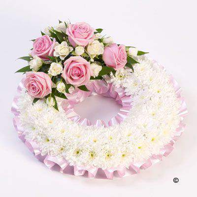 Traditional Wreath - White and Pink: Booker Flowers and Gifts