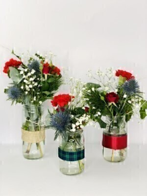 Trio of Christmas Jars of Flowers: Booker Flowers and Gifts