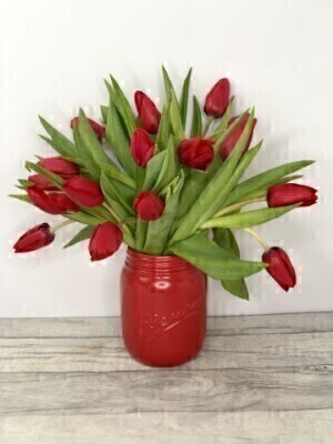 Valentines Day Romantic Red Tulips in Jar: Booker Flowers and Gifts