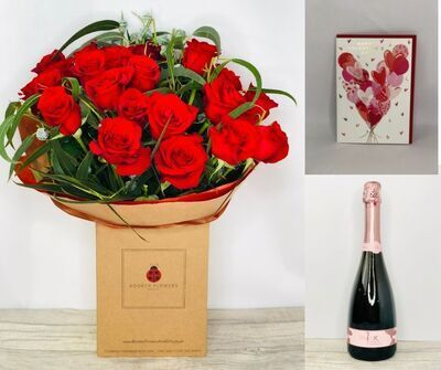 Valentines Deluxe 24 Rose Gift Set: Booker Flowers and Gifts