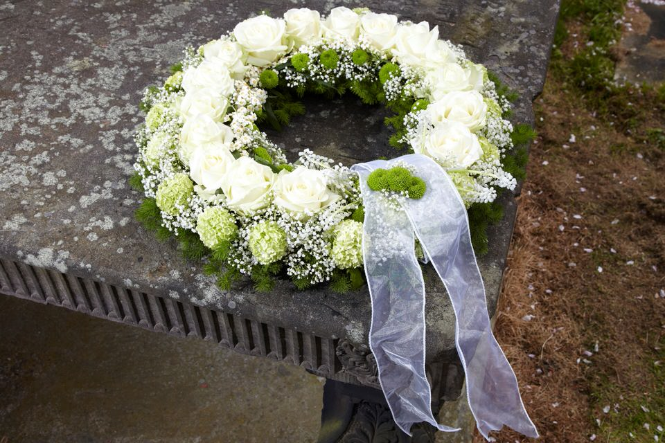 White Rose Wreath Funeral Flowers: Booker Flowers and Gifts