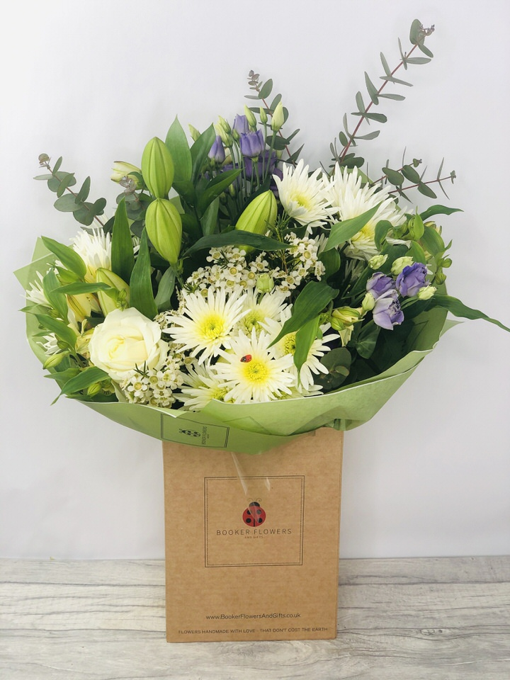 White Rose and Lily Bouquet: Booker Flowers and Gifts
