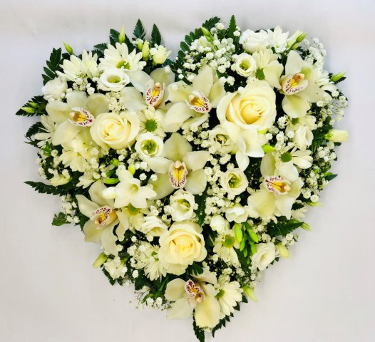 White Rose and Orchid Funeral Heart: Booker Flowers and Gifts