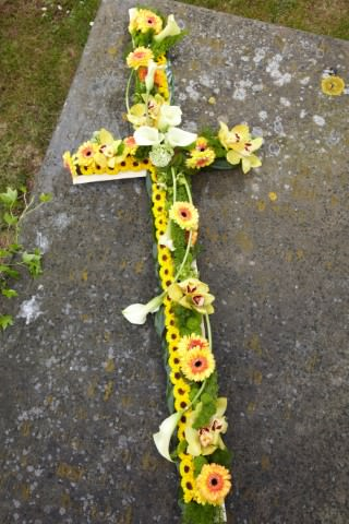 Yellow Funeral Cross Calla and Orchid: Booker Flowers and Gifts