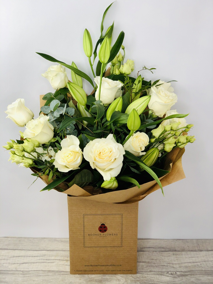 Flower Delivery Liverpool Wonderfully White Hand Tied Large